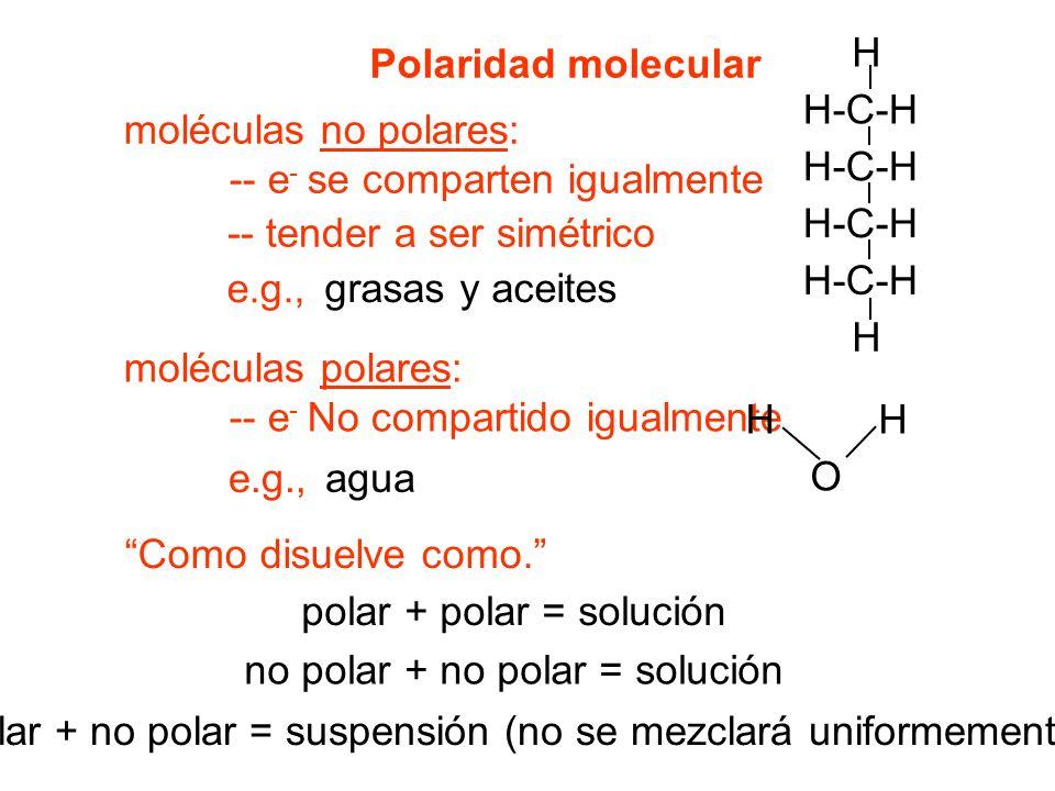 Polaridad molecular moléculas no polares: -- e - se comparten igualmente -- tender a ser simétrico e.g., moléculas polares: -- e - No compartido igualmente Como disuelve como.