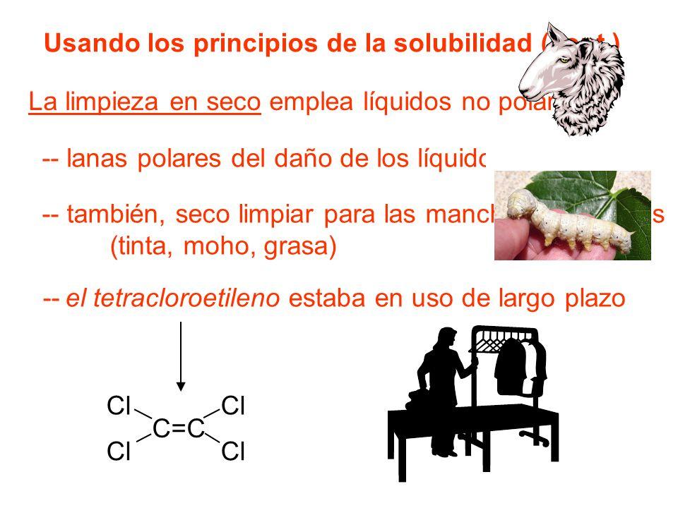 La limpieza en seco emplea líquidos no polares.