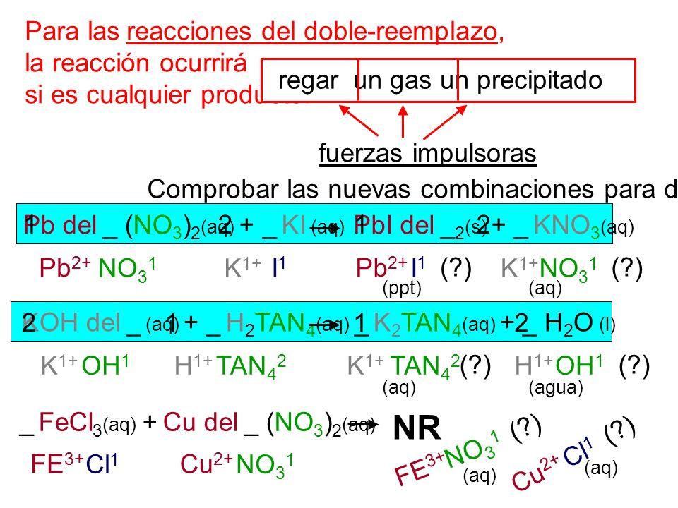 (?) Para las reacciones del doble-reemplazo, la reacción ocurrirá si es cualquier producto: regar un gas un precipitado fuerzas impulsoras Pb del _ (N