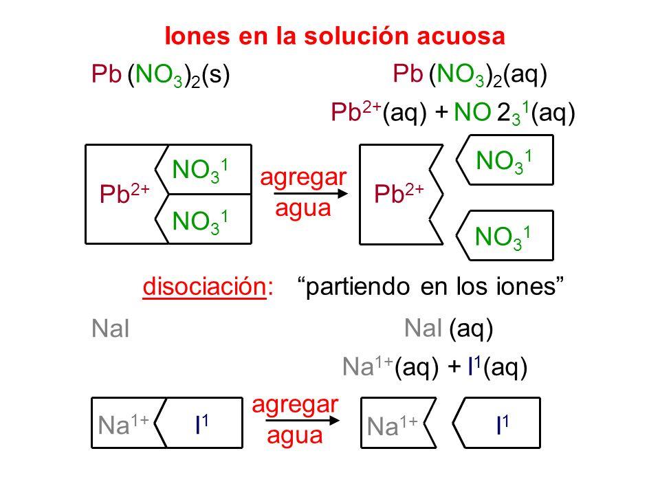 Iones en la solución acuosa Pb (NO 3 ) 2 (s) Pb (NO 3 ) 2 (aq) Pb 2+ (aq) + NO 2 3 1 (aq) agregar agua disociación: Pb 2+ NO 3 1 Pb 2+ NO 3 1 partiend