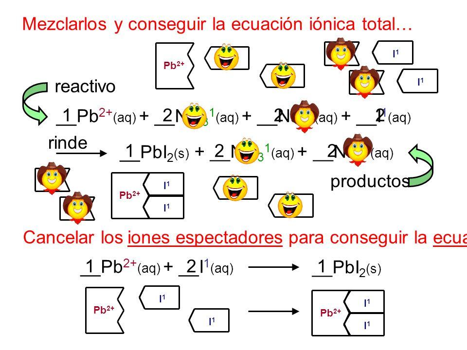 Mezclarlos y conseguir la ecuación iónica total… __Pb 2+ (aq) + __NO 3 1 (aq) + __Na 1+ (aq) + __I 1 (aq) __PbI 2 (s) + __NO 3 1 (aq) + __Na 1+ (aq) r