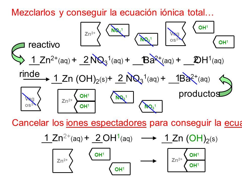 Mezclarlos y conseguir la ecuación iónica total… __Zn 2+ (aq) + __NO 3 1 (aq) + __Ba 2+ (aq) + __OH 1 (aq) __Zn (OH) 2 (s) + __NO 3 1 (aq) + __Ba 2+ (
