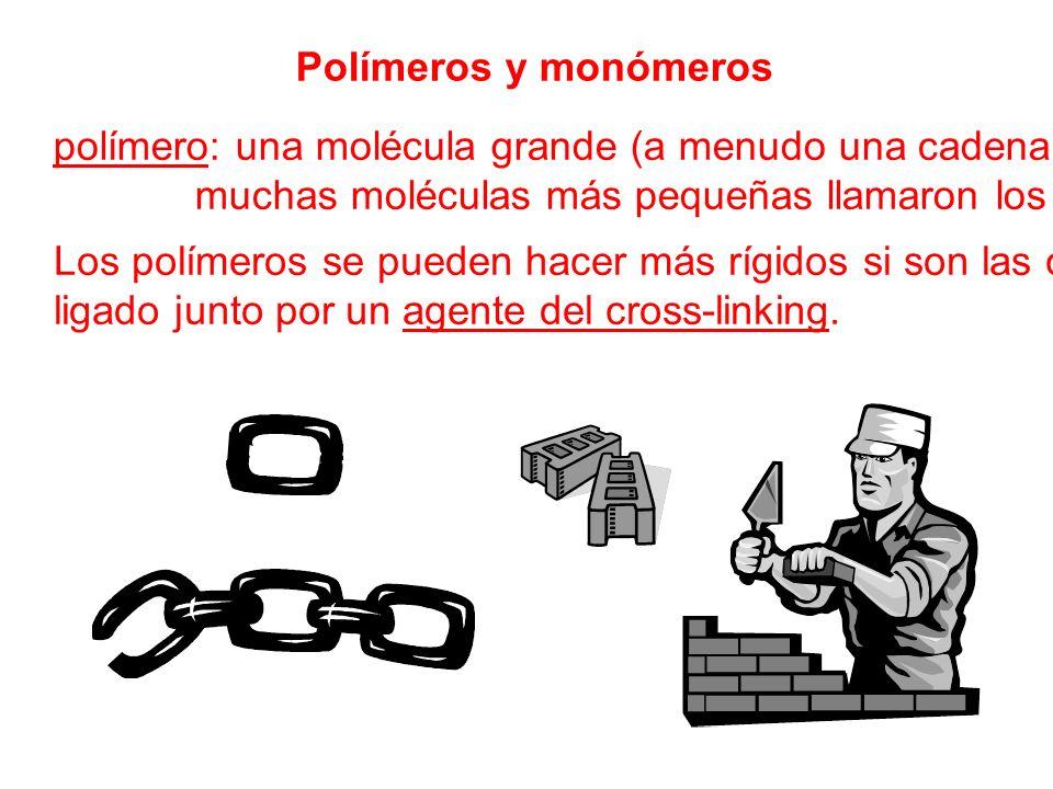 Polímeros y monómeros polímero: una molécula grande (a menudo una cadena) hecha de muchas moléculas más pequeñas llamaron los monómeros Los polímeros