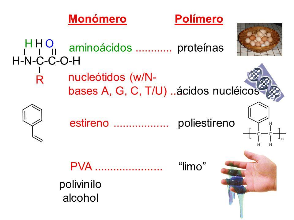 MonómeroPolímero aminoácidos............ nucleótidos (w/N- bases A, G, C, T/U)..... estireno.................. PVA...................... proteínas áci