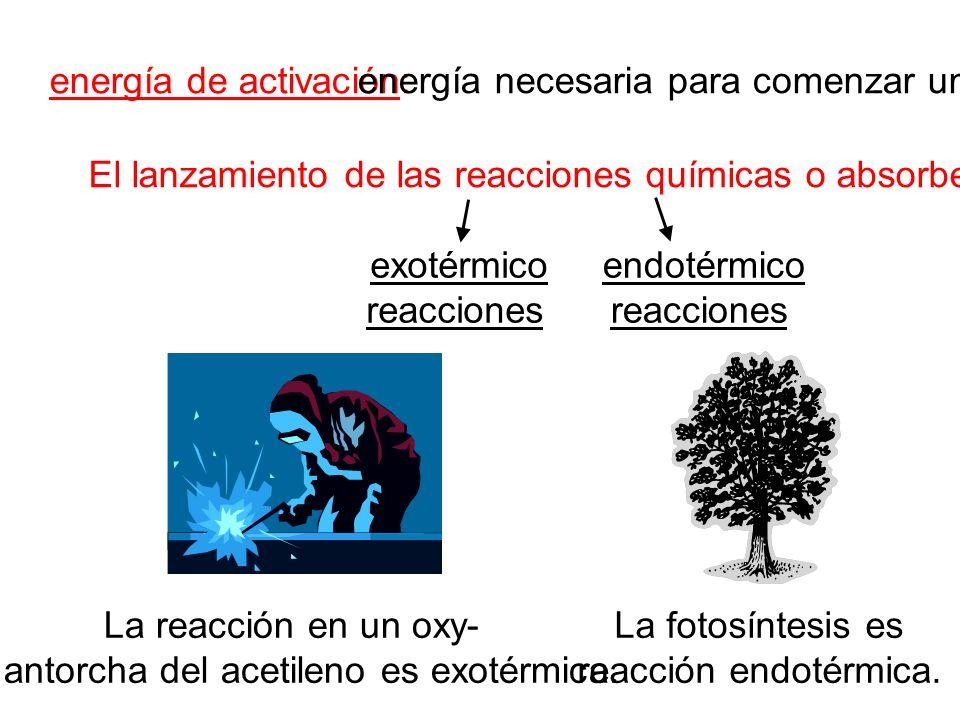 energía de activación: El lanzamiento de las reacciones químicas o absorbe energía. energía necesaria para comenzar una reacción exotérmico reacciones