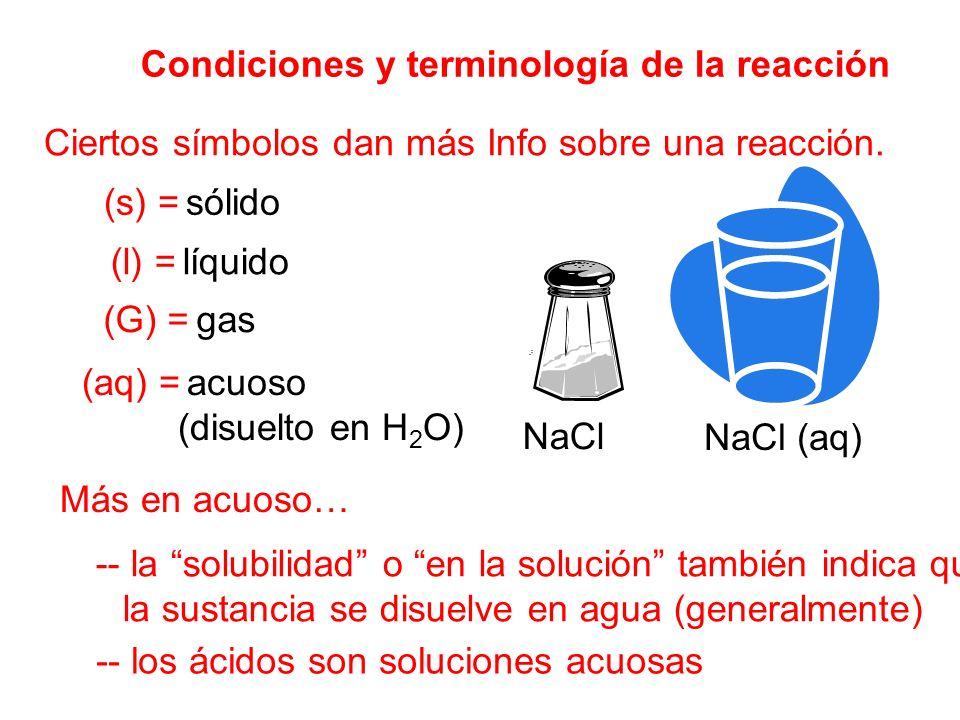 Condiciones y terminología de la reacción Ciertos símbolos dan más Info sobre una reacción. (s) = sólido (l) = líquido (G) = gas (aq) = acuoso (disuel