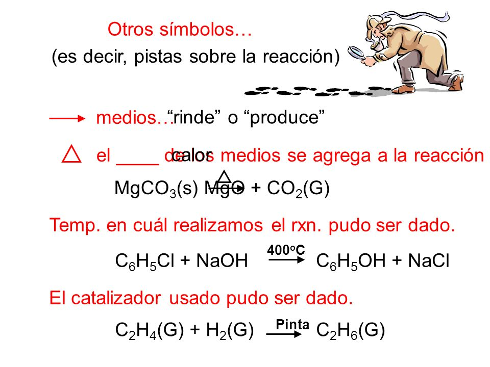 Otros símbolos… medios… Temp. en cuál realizamos el rxn. pudo ser dado. El catalizador usado pudo ser dado. el ____ de los medios se agrega a la reacc