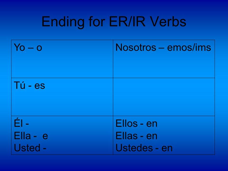 Ending for ER/IR Verbs Yo – oNosotros – emos/ims Tú - es Él - Ella - e Usted - Ellos - en Ellas - en Ustedes - en
