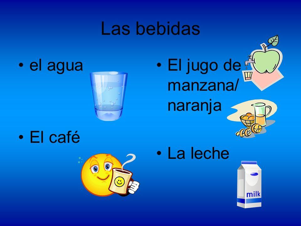 Las bebidas el agua El café El jugo de manzana/ naranja La leche