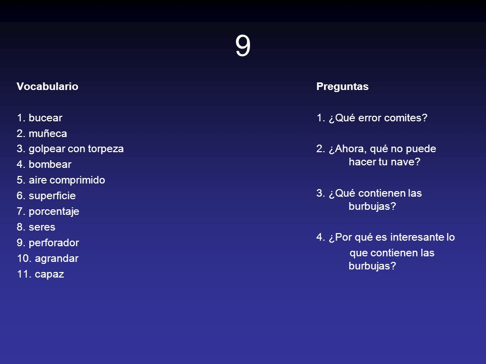 20 Vocabulario 1.encender 2. carga 3. a través 4.
