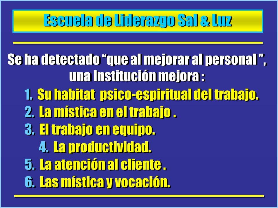 Escuela de Liderazgo Sal & Luz Se ha detectado que al mejorar al personal, una Institución mejora : 1. Su habitat psico-espiritual del trabajo. 2. La