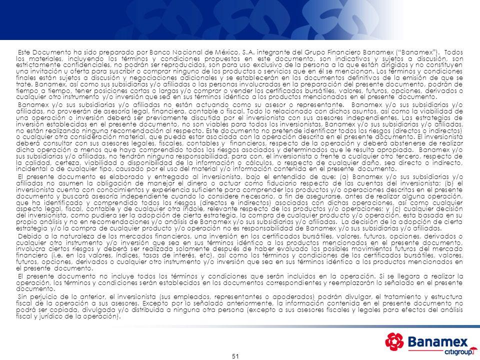 51 Este Documento ha sido preparado por Banco Nacional de México, S.A. integrante del Grupo Financiero Banamex (Banamex). Todos los materiales, incluy