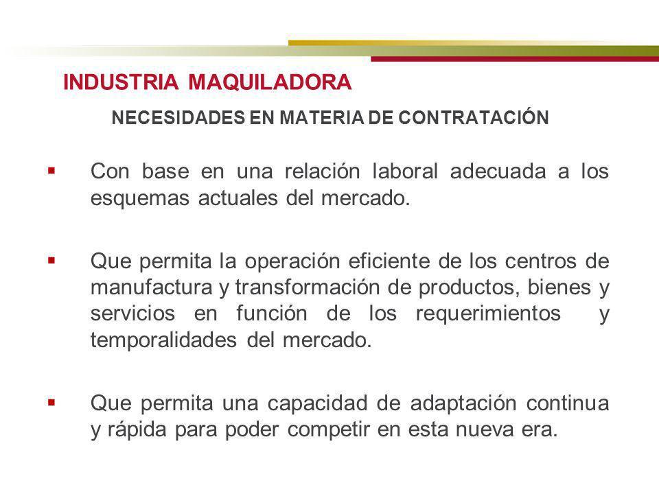 NECESIDADES EN MATERIA DE CONTRATACIÓN Con base en una relación laboral adecuada a los esquemas actuales del mercado. Que permita la operación eficien