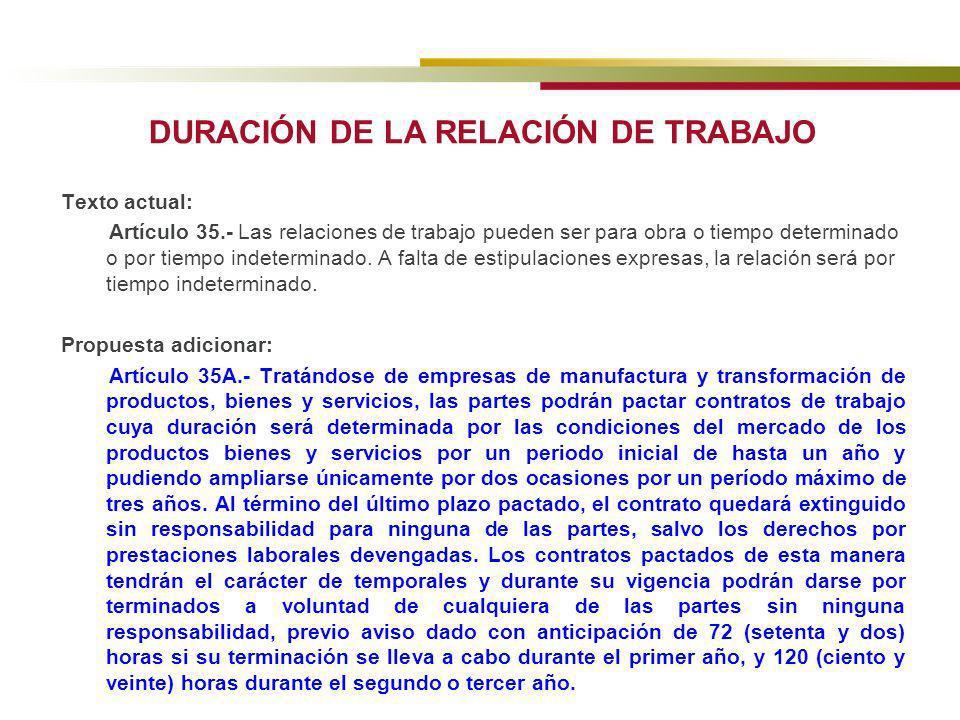 DURACIÓN DE LA RELACIÓN DE TRABAJO Texto actual: Artículo 35.- Las relaciones de trabajo pueden ser para obra o tiempo determinado o por tiempo indete