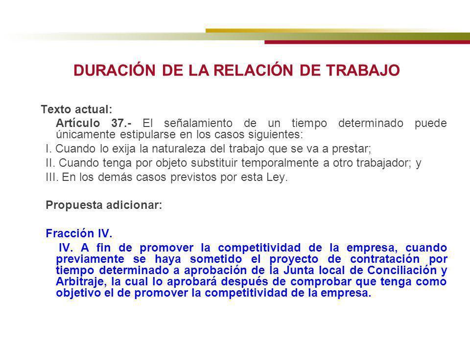 DURACIÓN DE LA RELACIÓN DE TRABAJO Texto actual: Artículo 37.- El señalamiento de un tiempo determinado puede únicamente estipularse en los casos sigu