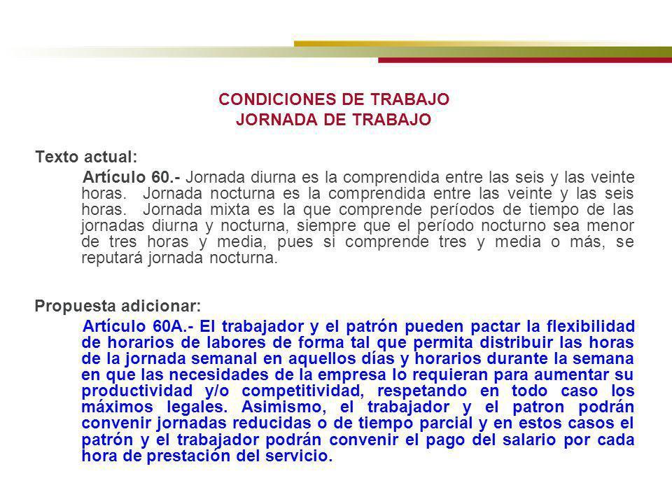 CONDICIONES DE TRABAJO JORNADA DE TRABAJO Texto actual: Artículo 60.- Jornada diurna es la comprendida entre las seis y las veinte horas. Jornada noct