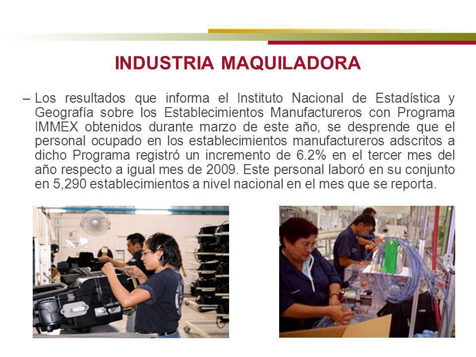 INDUSTRIA MAQUILADORA –Los resultados que informa el Instituto Nacional de Estadística y Geografía sobre los Establecimientos Manufactureros con Progr