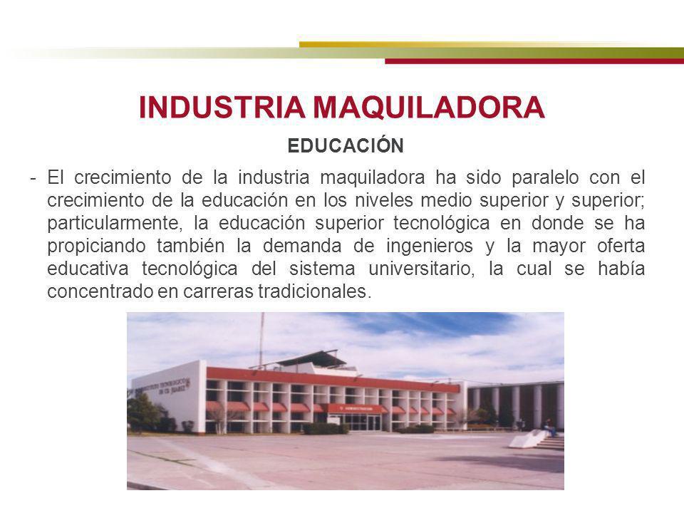 INDUSTRIA MAQUILADORA EDUCACIÓN - El crecimiento de la industria maquiladora ha sido paralelo con el crecimiento de la educación en los niveles medio