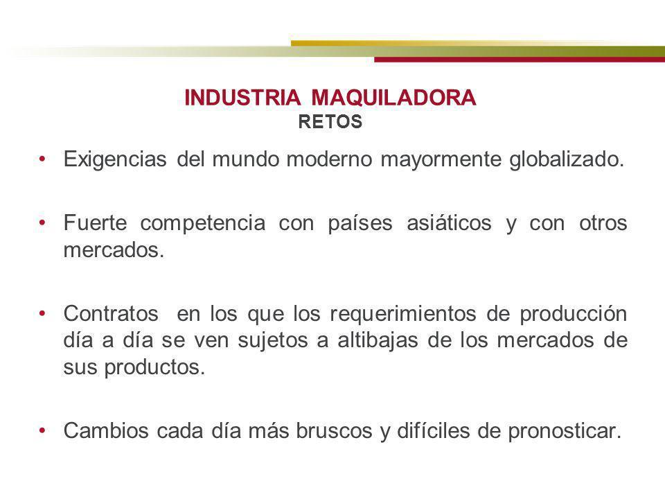 INDUSTRIA MAQUILADORA RETOS Exigencias del mundo moderno mayormente globalizado. Fuerte competencia con países asiáticos y con otros mercados. Contrat