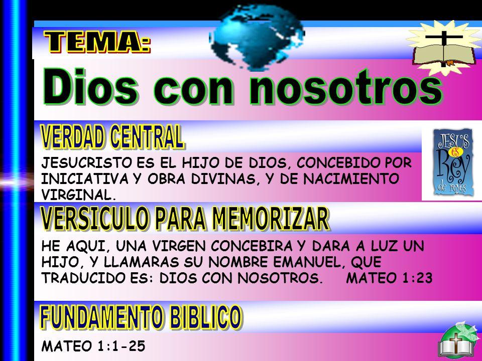 Tema JESUCRISTO ES EL HIJO DE DIOS, CONCEBIDO POR INICIATIVA Y OBRA DIVINAS, Y DE NACIMIENTO VIRGINAL. HE AQUI, UNA VIRGEN CONCEBIRA Y DARA A LUZ UN H