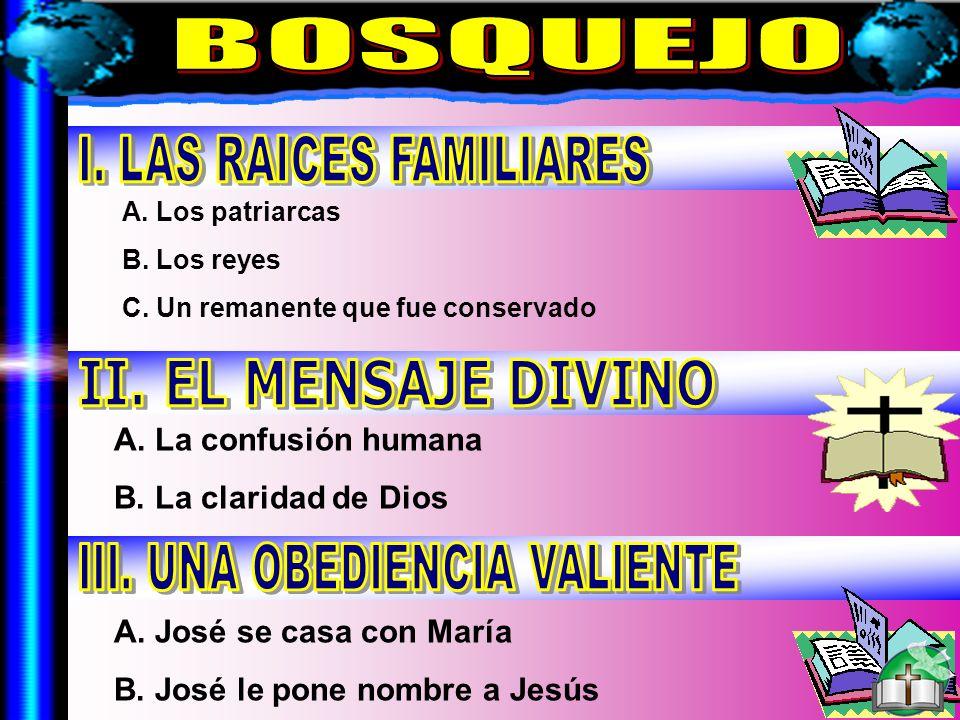 Bosquejo A. La confusión humana B. La claridad de Dios A. José se casa con María B. José le pone nombre a Jesús A. Los patriarcas B. Los reyes C. Un r