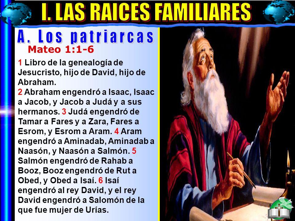Las Raíces Familiares A Mateo 1:1-6 1 Libro de la genealogía de Jesucristo, hijo de David, hijo de Abraham. 2 Abraham engendró a Isaac, Isaac a Jacob,