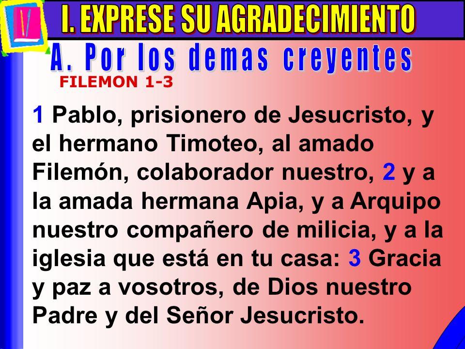 Exprese Su Agradecimiento A 1 Pablo, prisionero de Jesucristo, y el hermano Timoteo, al amado Filemón, colaborador nuestro, 2 y a la amada hermana Api