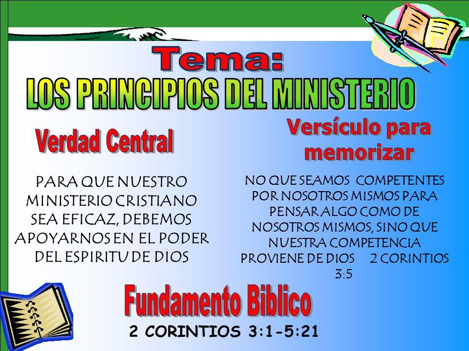 Tema 2 CORINTIOS 3:1-5:21 PARA QUE NUESTRO MINISTERIO CRISTIANO SEA EFICAZ, DEBEMOS APOYARNOS EN EL PODER DEL ESPIRITU DE DIOS NO QUE SEAMOS COMPETENT