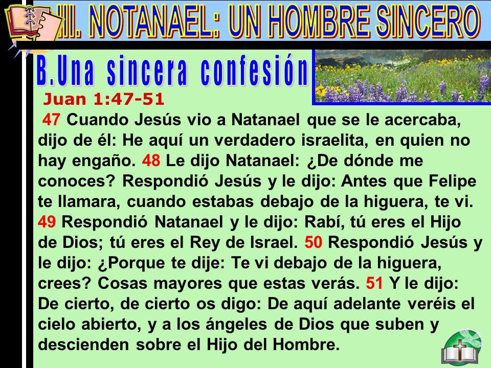 Notanael B Juan 1:47-51 47 Cuando Jesús vio a Natanael que se le acercaba, dijo de él: He aquí un verdadero israelita, en quien no hay engaño. 48 Le d