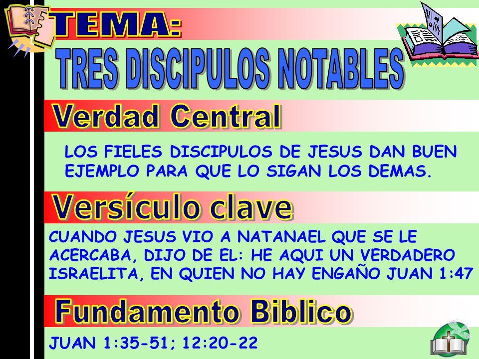 Tema LOS FIELES DISCIPULOS DE JESUS DAN BUEN EJEMPLO PARA QUE LO SIGAN LOS DEMAS. CUANDO JESUS VIO A NATANAEL QUE SE LE ACERCABA, DIJO DE EL: HE AQUI