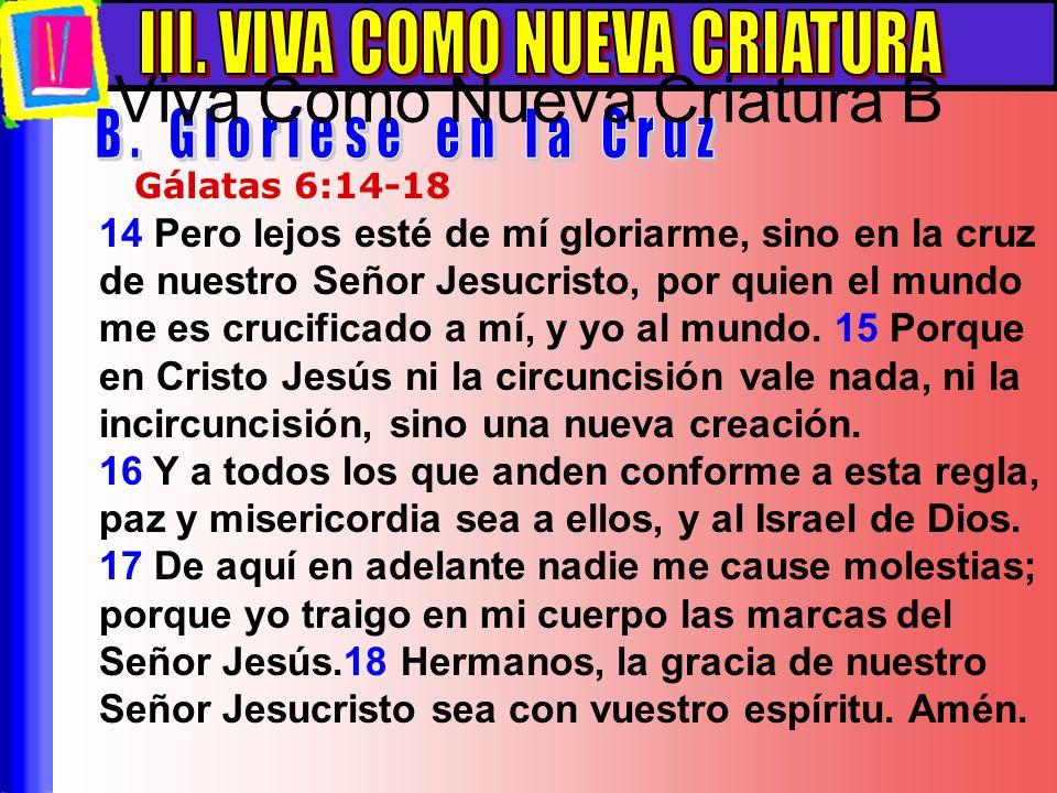 14 Pero lejos esté de mí gloriarme, sino en la cruz de nuestro Señor Jesucristo, por quien el mundo me es crucificado a mí, y yo al mundo. 15 Porque e