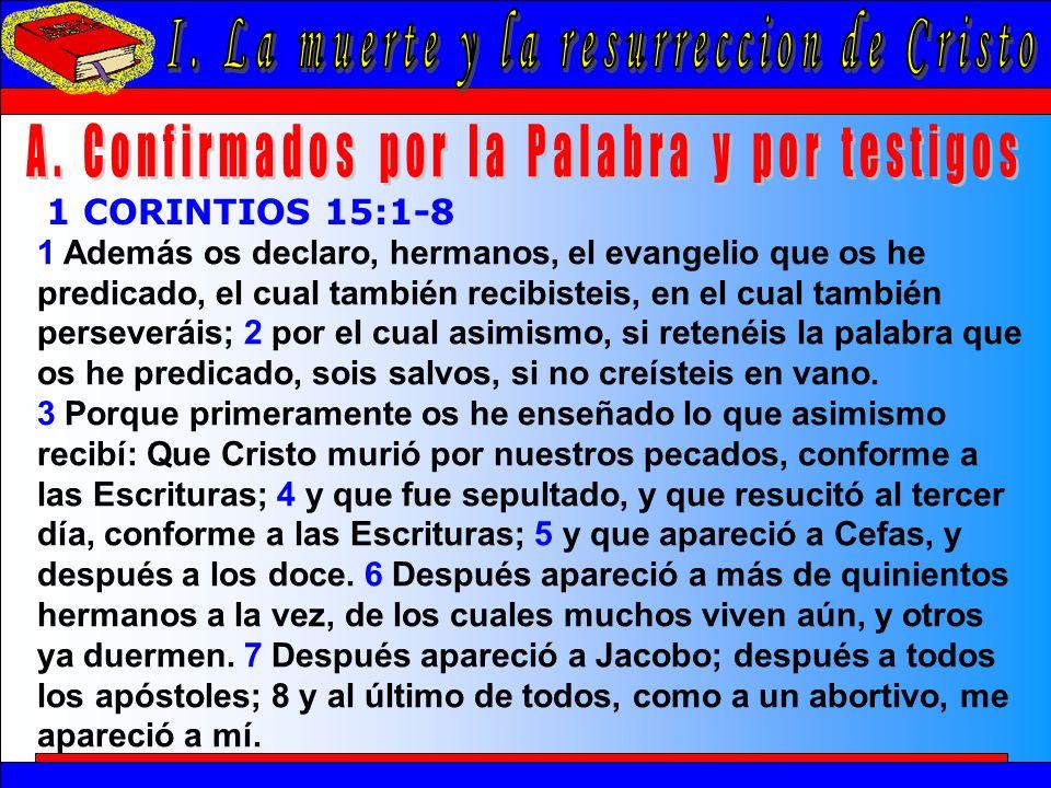 La Muerte Y La Resurrección De Cristo A 1 Además os declaro, hermanos, el evangelio que os he predicado, el cual también recibisteis, en el cual tambi