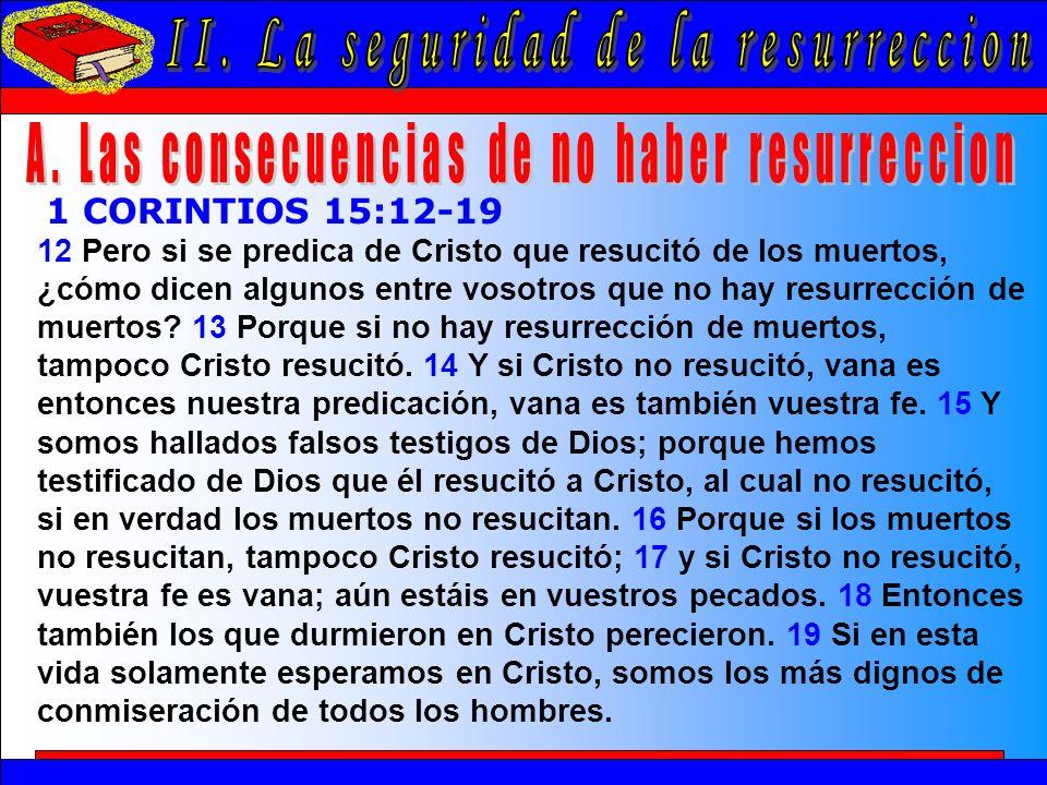 La Seguridad De La Resurrección A 12 Pero si se predica de Cristo que resucitó de los muertos, ¿cómo dicen algunos entre vosotros que no hay resurrecc