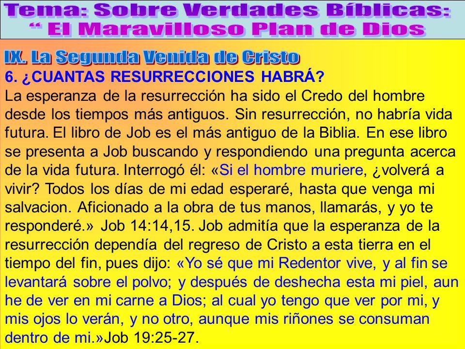 ¿Cuantas Resurrecciones Habrá? A 6. ¿CUANTAS RESURRECCIONES HABRÁ? La esperanza de la resurrección ha sido el Credo del hombre desde los tiempos más a