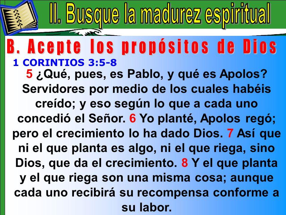 Busque La Madurez Espiritual B 5 ¿Qué, pues, es Pablo, y qué es Apolos? Servidores por medio de los cuales habéis creído; y eso según lo que a cada un