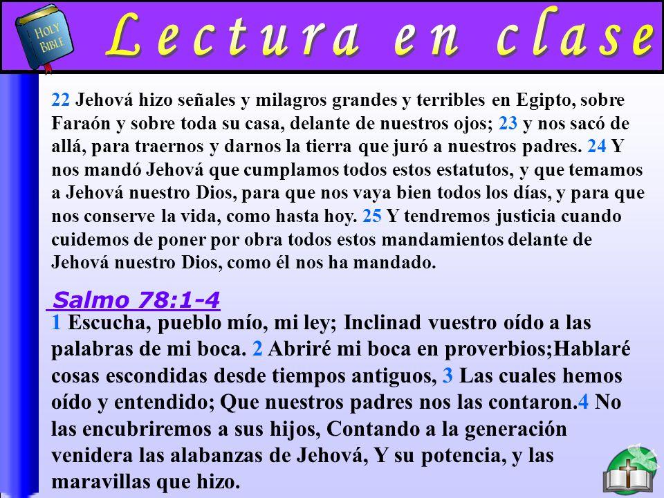 Tema DEUTERONOMIO 6:1-25; SALMO 78:1-8 SE DEBE ENSEÑAR LA BIBLIA EN LA CASA.