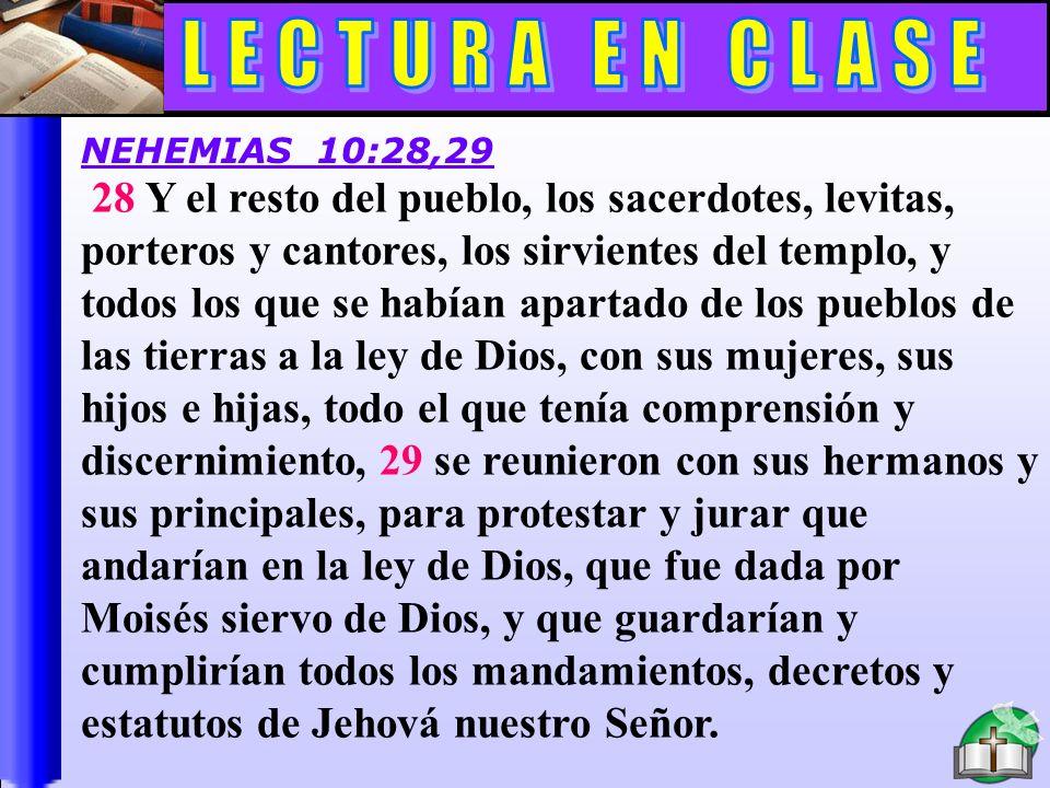 Lectura En Clase C 28 Y el resto del pueblo, los sacerdotes, levitas, porteros y cantores, los sirvientes del templo, y todos los que se habían aparta