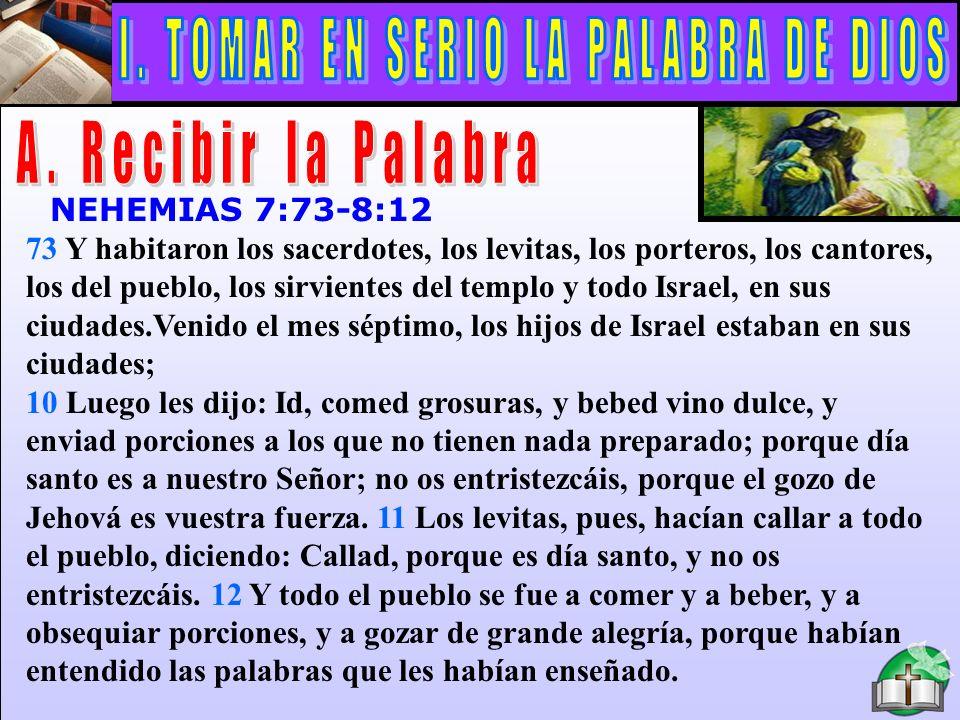 Recibir La Palabra NEHEMIAS 7:73-8:12 73 Y habitaron los sacerdotes, los levitas, los porteros, los cantores, los del pueblo, los sirvientes del templ