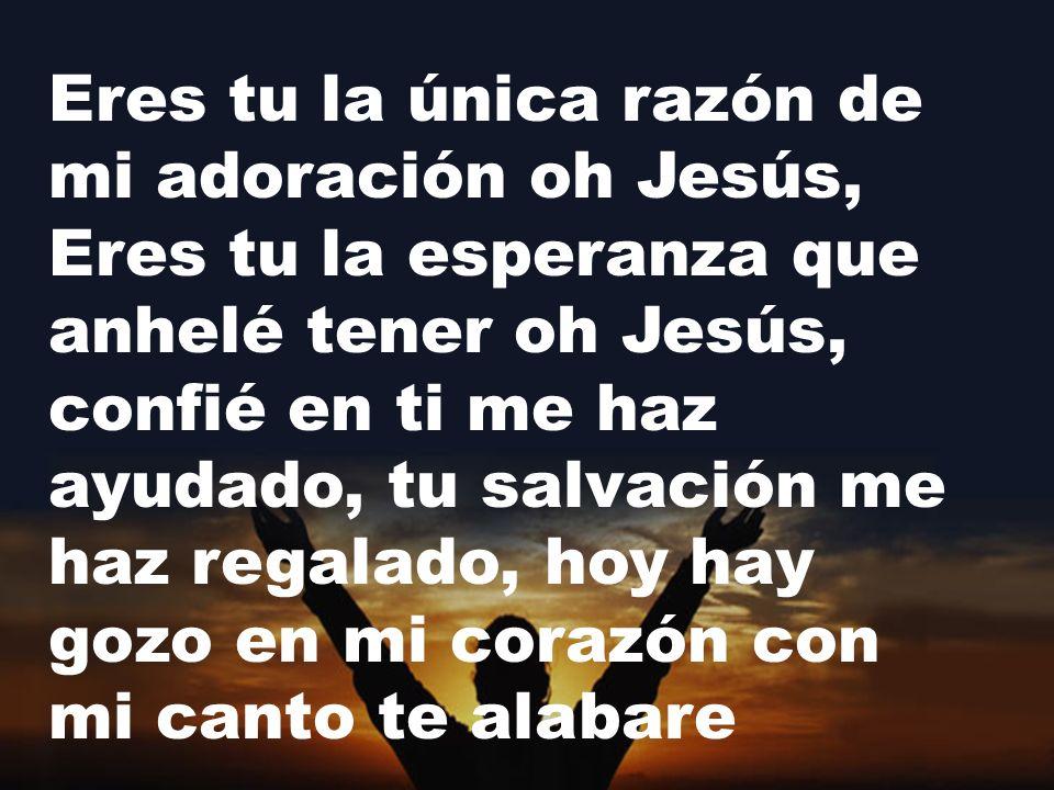 Eres tu la única razón de mi adoración oh Jesús, Eres tu la esperanza que anhelé tener oh Jesús, confié en ti me haz ayudado, tu salvación me haz rega