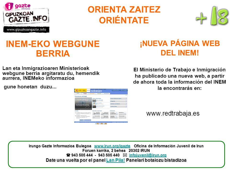 ORIENTA ZAITEZ ORIÉNTATE ¡NUEVA PÁGINA WEB DEL INEM.