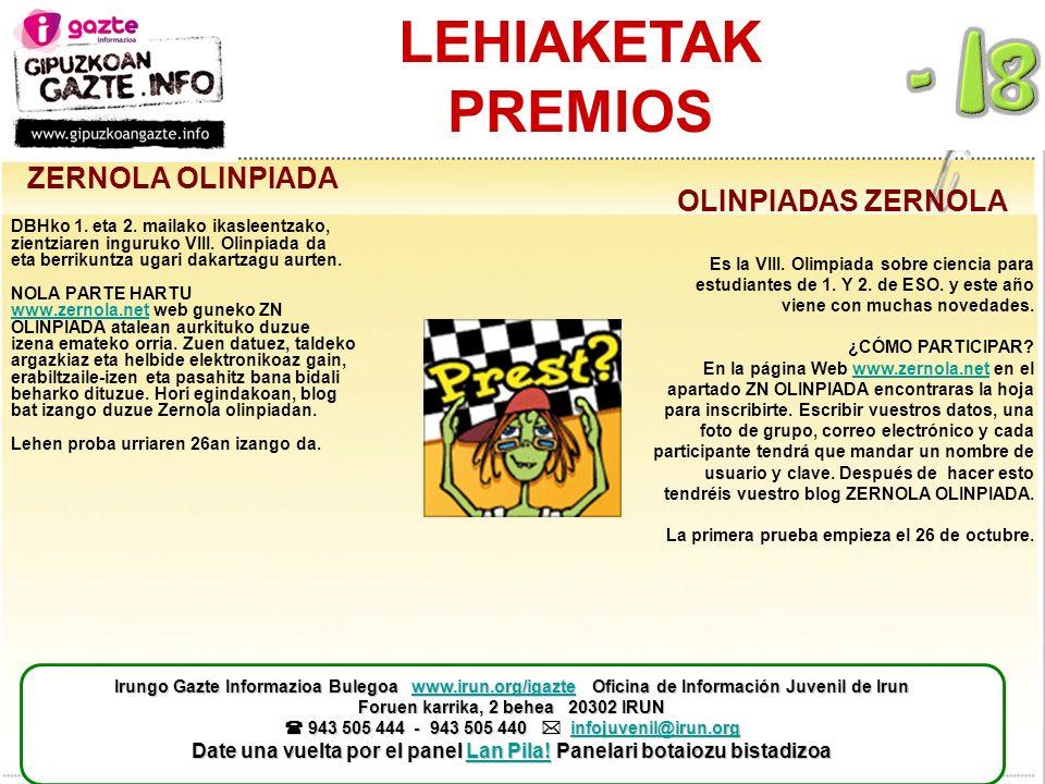 LEHIAKETAK PREMIOS ZERNOLA OLINPIADA DBHko 1. eta 2.