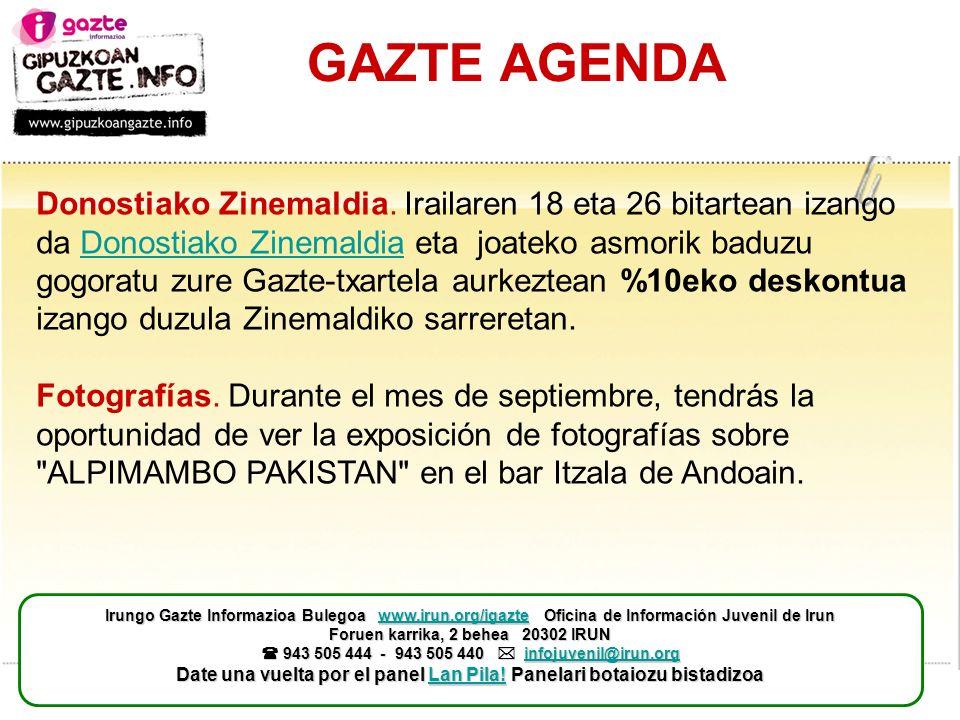 GAZTE AGENDA Donostiako Zinemaldia.