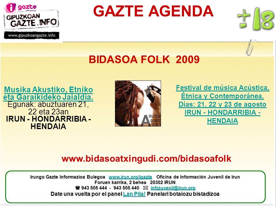 GAZTE AGENDA Musika Akustiko, Etniko eta Garaikideko Jaialdia.
