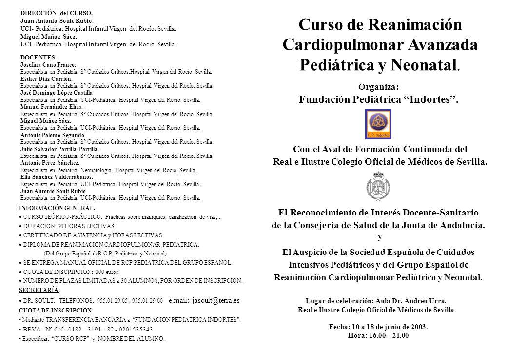DIRECCIÓN del CURSO. Juan Antonio Soult Rubio. UCI- Pediátrica. Hospital Infantil Virgen del Rocío. Sevilla. Miguel Muñoz Sáez. UCI- Pediátrica. Hospi