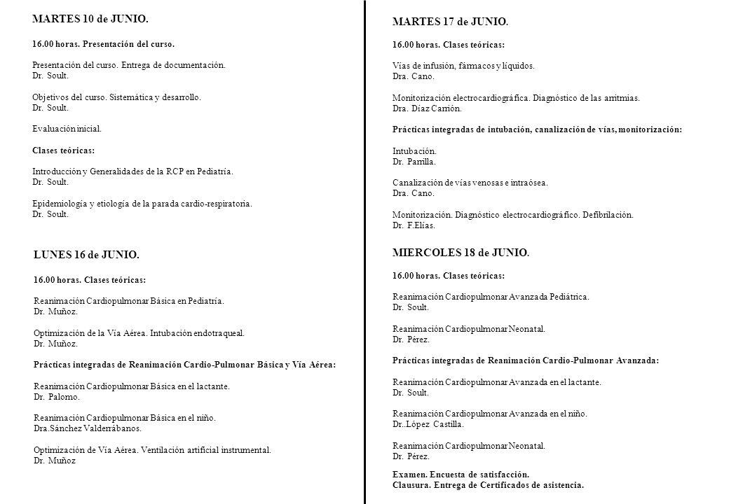 MARTES 10 de JUNIO. 16.00 horas. Presentación del curso. Presentación del curso. Entrega de documentación. Dr. Soult. Objetivos del curso. Sistemática