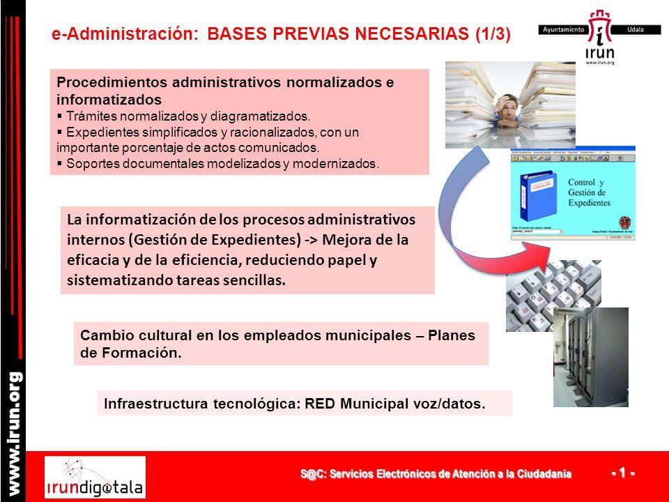 S@C: Servicios Electrónicos de Atención a la Ciudadanía - 1 - www.irun.org Procedimientos administrativos normalizados e informatizados Trámites normalizados y diagramatizados.