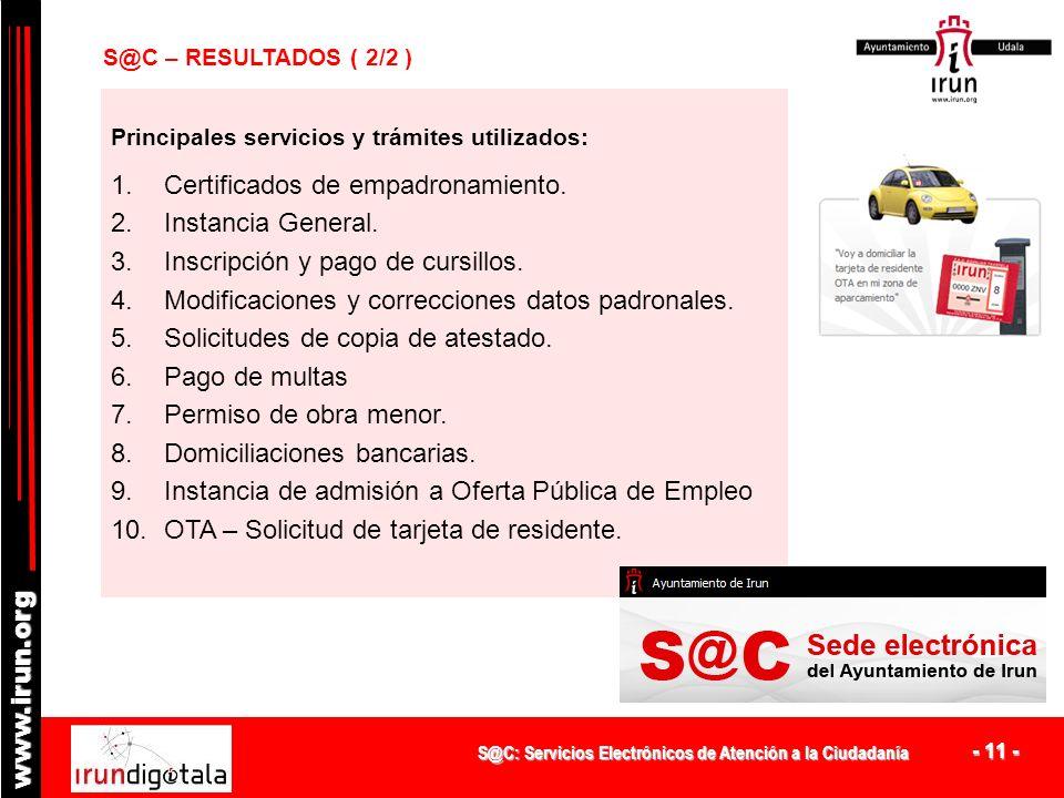 S@C: Servicios Electrónicos de Atención a la Ciudadanía - 10 - www.irun.org S@C – RESULTADOS ( 1/2 ) DATOS 2011 Accesos autenticados16.839 Accesos/día