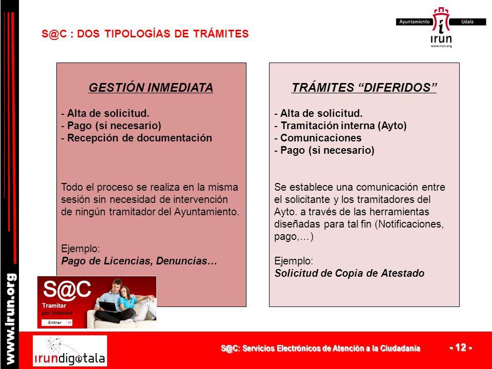 S@C: Servicios Electrónicos de Atención a la Ciudadanía - 11 - www.irun.org S@C – RESULTADOS ( 2/2 ) Principales servicios y trámites utilizados: 1.Ce