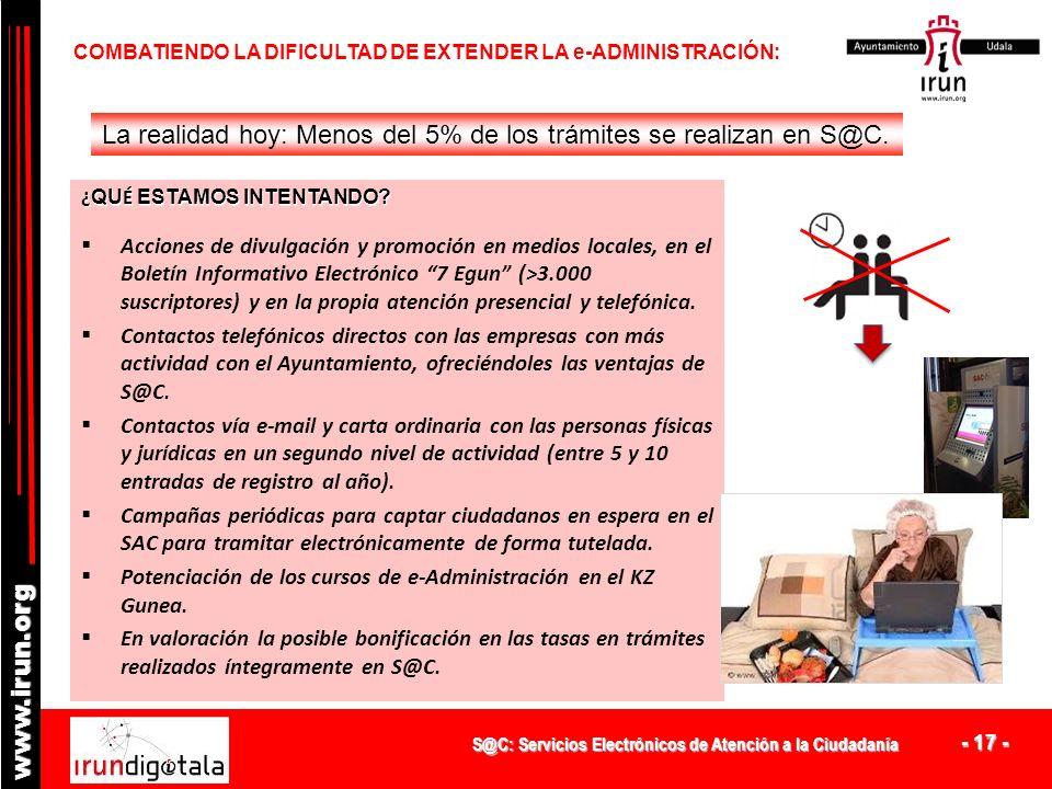 S@C: Servicios Electrónicos de Atención a la Ciudadanía - 16 - www.irun.org COMBATIENDO LA DIFICULTAD DE EXTENDER LA e-ADMINISTRACIÓN: La realidad hoy