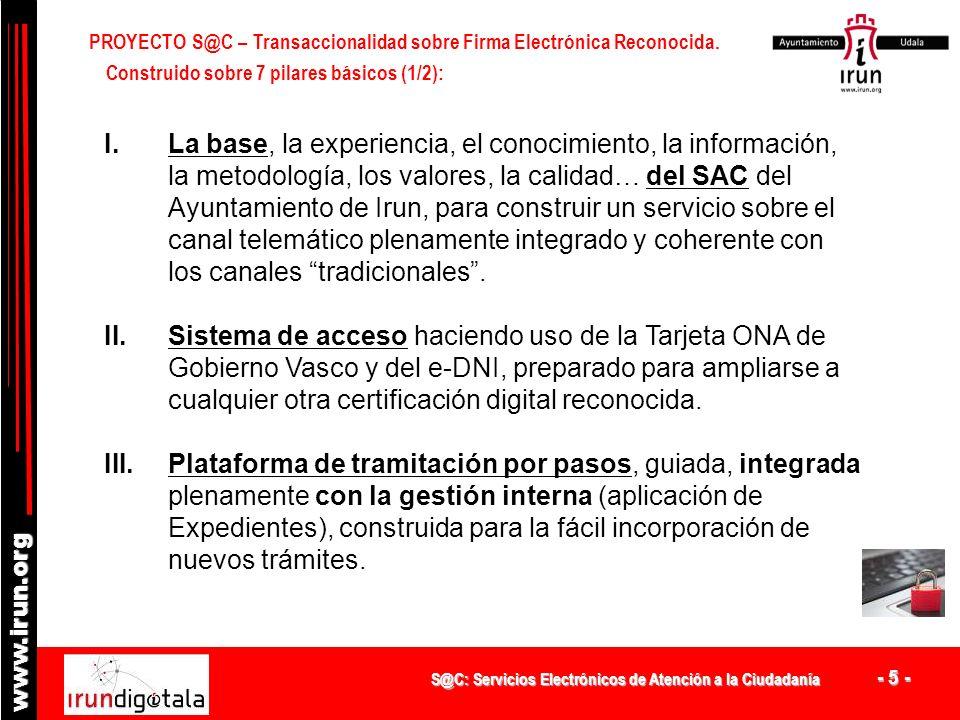 S@C: Servicios Electrónicos de Atención a la Ciudadanía - 4 - www.irun.org PROYECTO S@C Tramitación sobre Firma Electrónica Reconocida